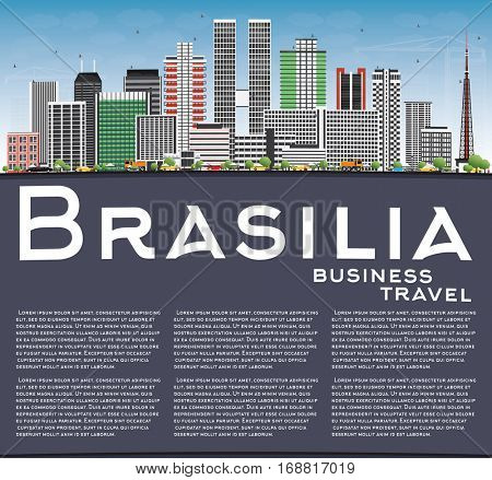 Brasilia Skyline with Gray Buildings, Blue Sky and Copy Space. Vector Illustration. Business Travel and Tourism Concept with Modern Architecture. Image for Presentation Banner Placard and Web Site.