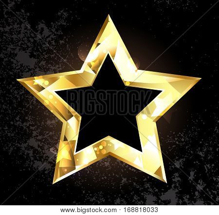 Gold glittering polygonal star on a black background. Design with gold stars.