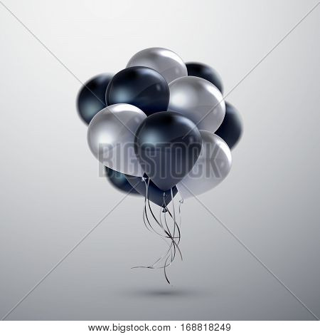 Vector festive illustration of flying realistic glossy balloons. White and black balloon bunch. Applicable for banner, poster, flyer, cards. Award Ceremony Or Other Holiday Event Decoration Element