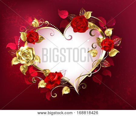 Heart with jewels gold and red roses on red textural background. Design with roses. Valentine's Day.