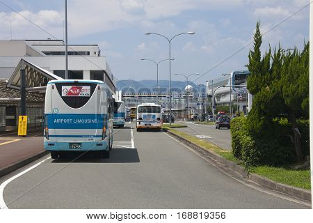 Osaka, Japan - Aug 10: Airport Limousine Bus Station In Osaka International Airport Itami. Aug 10, 2