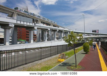 Osaka, Japan - Aug 10, 2015: Osaka Monorail Near The Osaka International Airport