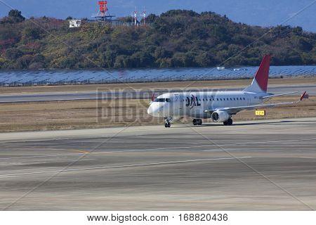 19 Dec 2015 Airport Nagasaki. Japan. Jal Airplanes Ja211J In Airport Of Nagasaki (ngs), Omura