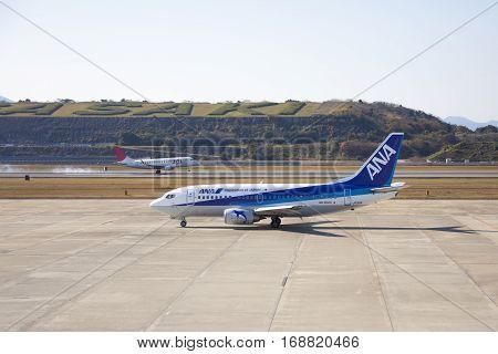 19 Dec 2015 Airport Nagasaki. Japan. Jal Ja211J And Ana Ja301K Airplanes In Airport Of Nagasaki (ngs