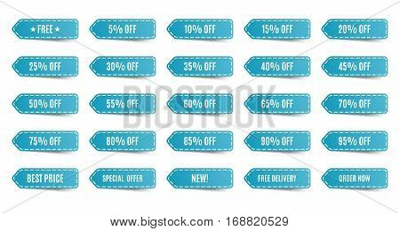 Isolated shopping tags set. Blue discount labels. 5 10 15 20 25 30 35 40 45 50 55 60 65 70 75 80 85 90 95 percent. Vector illustration