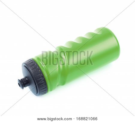 Green plastic sport water bottle isolated over the white background