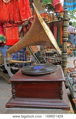 Jaipur India - February 24 2015: An old gramophone for sale at a flea market