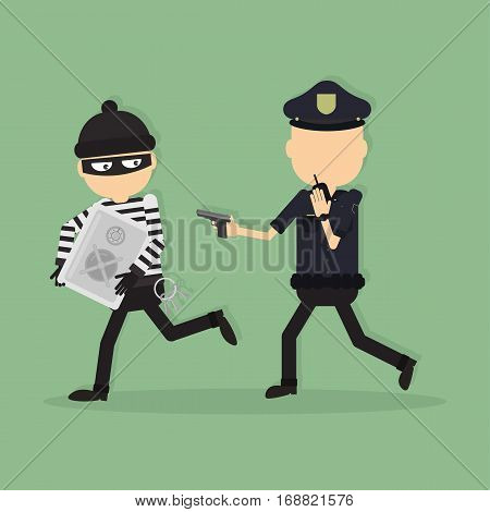 Thief and police officer. Funny cartoon thief in black mask stealing the safe. Police officer with gun.