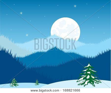 The Moon night in mountain in winter.Vector illustration