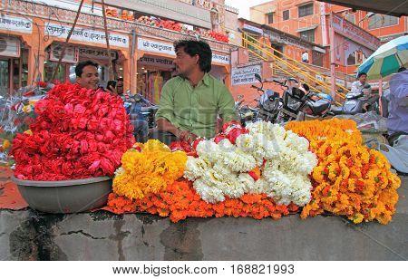 Man Is Selling Petals Of Flowers In Jaipur, India