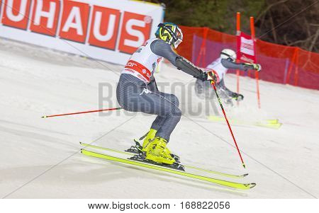 STOCKHOLM SWEDEN - JAN 31 2017: Manfred Moeigg (ITA) and competitor in the downhill skiing in the parallel slalom alpine event Audi FIS Ski World Cup. January 31 2017 Stockholm Sweden