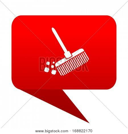 broom bubble red icon