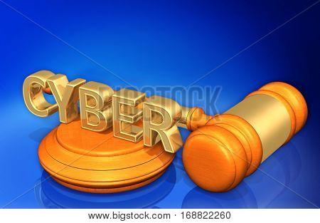 Cyber Legal Gavel Concept 3D Illustration