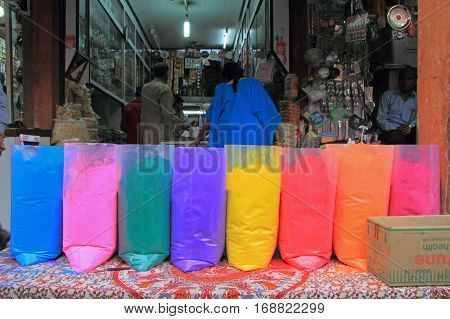 Jaipur India - February 25 2015: man is selling Different colors on the occasion of Holi festival in Jaiput India