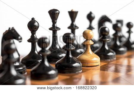 Stand out of a crowd individuality concept Odd Chess Piece. Psychology and business concept