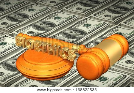 Bioethics Legal Gavel Concept 3D Illustration