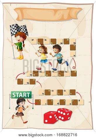 Kids playing boardgames on white