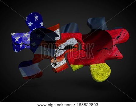 Trump and Merkel with US Germany flags on puzzle pieces. Political relationship concept 3D rendering