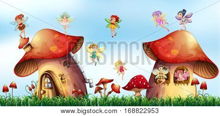 Scene with fairies flying around mushroom houses illustration