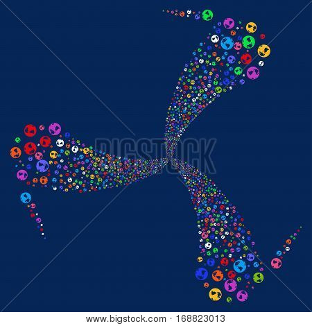Earth fireworks swirl rotation. Vector illustration style is flat bright multicolored iconic symbols on a blue background. Object twirl made from random pictograms.