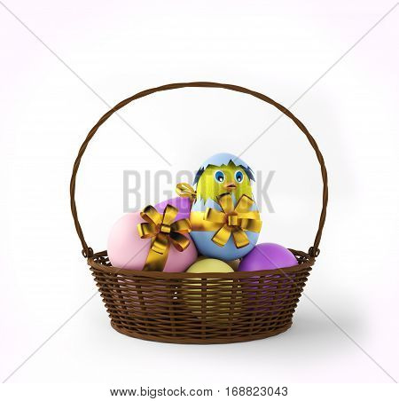 chicken in a easter egg in basket. 3d rendering