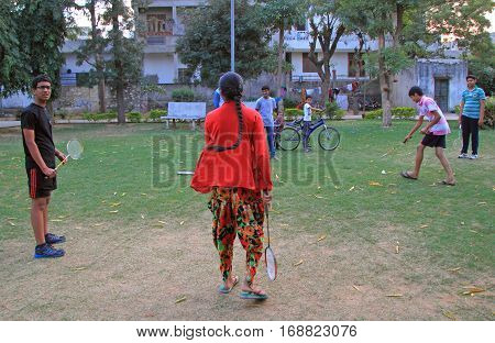 People Are Playing Badminton Outdoor In Jaipur, India