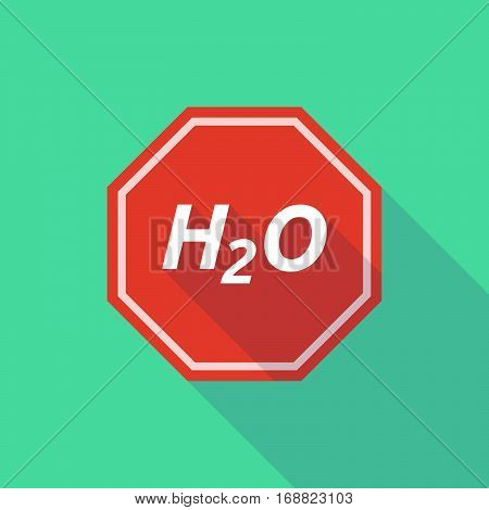 Long Shadow Stop Signal With    The Text H2O