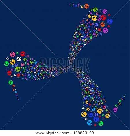Earth fireworks swirl rotation. Vector illustration style is flat bright multicolored iconic symbols on a blue background. Object spiral organized from random design elements.