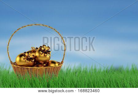 Basket of Easter eggs in Fresh Green Grass. 3d rendering