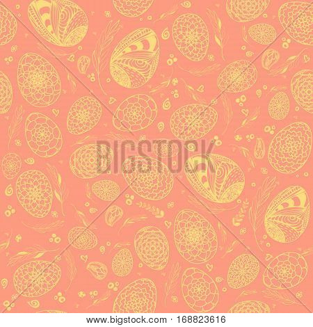 Decorative Easter Seamless Pattern With Hand Drawn Ornamental Eggs And Floral Elements In Pastels Sh