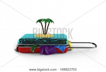 suitcase with cloth and tropical island. 3d rendering