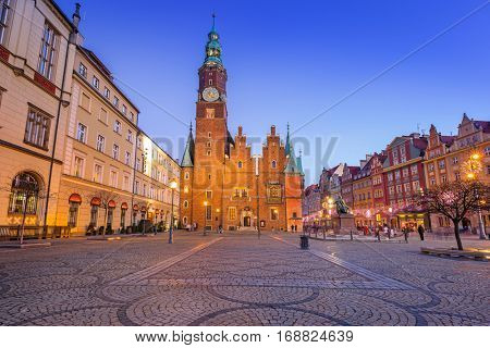 Architecture of the Market Square in Wroclaw at dusk, Poland.