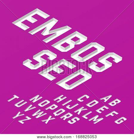 Embossed font, white isometric alphabet vector illustration