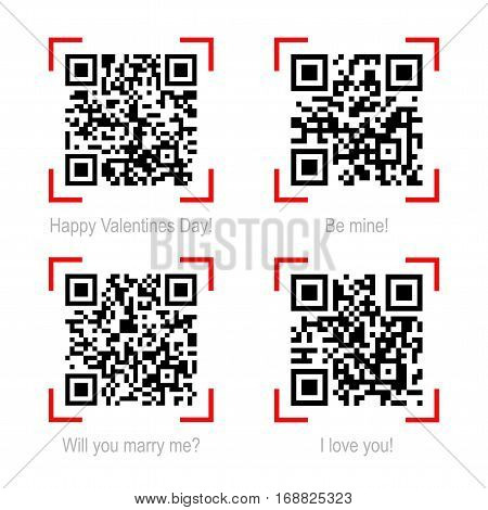 Vector illustration of Qr code samples on valentine holiday and love theme isolated on white. Scanned Qr-codes read I love you, Be mine, Happy Valentines Day, Will you marry me