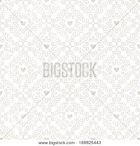 Seamless vintage style wallpaper with hearts. Pattern with grunge texture. EPS10 vector illustration.