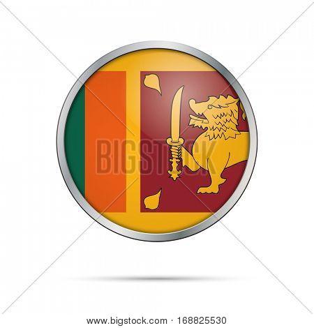 Vector Sri-Lankan flag button. Sri Lanka flag glass button style with metal frame.