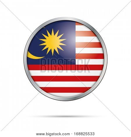 Vector Malaysian flag button. Malaysia flag glass button style with metal frame.