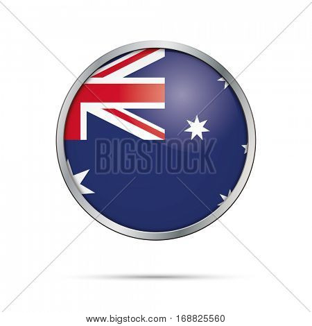 Vector Australian flag button. Australia flag glass button style with metal frame.