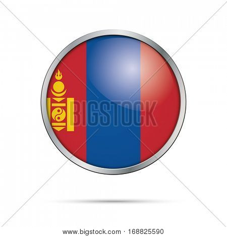 Vector Mongolian flag button. Mongolia flag glass button style with metal frame.