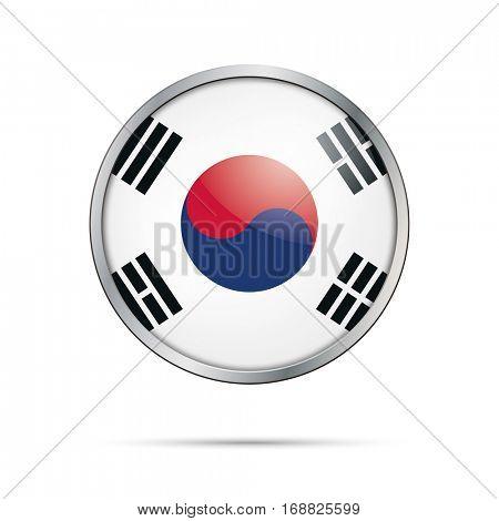 Vector South-Korean flag button. South Korea flag glass button style with metal frame.