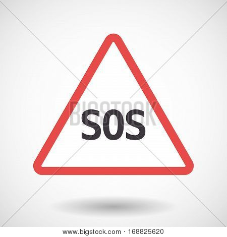Isolated Warning Signal With    The Text Sos