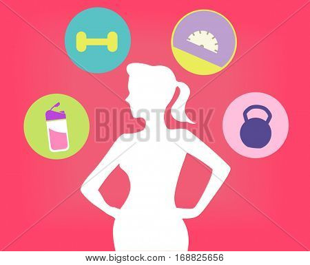 Illustration Featuring a Young Fit Woman Surrounded by Fitness Related Icons