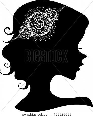 Illustration Featuring the Outline of a Young Woman Wearing a Lacy Doily Headdress