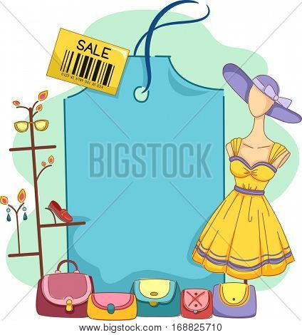 Illustration Featuring a Blank Price Tag Surrounded by a Mannequin, Handbags, Shoes, Sunglasses, and Jewelry