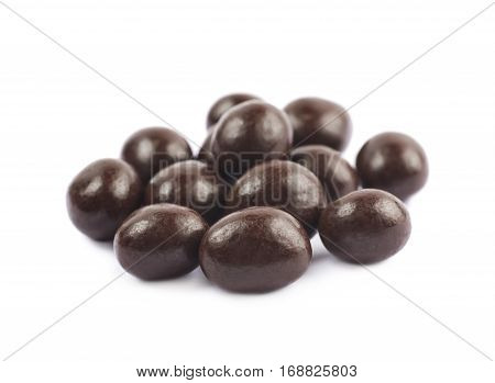 Pile of chocolate candy balls isolated over the white background