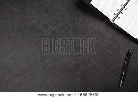Black organizer on a table
