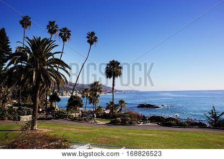Beach Laguna Beach California USA. Waves in the Pacific Ocean at Victoria Beach in Laguna Beach California