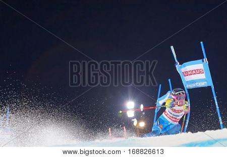 STOCKHOLM SWEDEN - JAN 31 2017: Frida Hansdotter (SWE) squirting snow in the parallel slalom downhill skiing at the Alpine Audi FIS Ski World Cup - city event January 31 2017 Stockholm Sweden