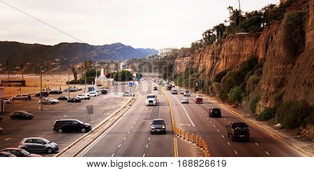 Beautiful Scenery of Santa Monica Beach and Pacific Coast Highway in Southern California United States.