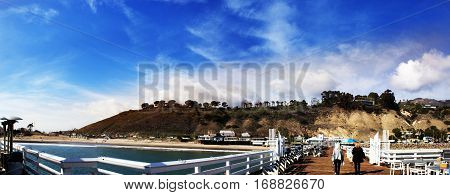 Panoram of Malibu Pier. Malibu Lagoon State Beach in Malibu California. Malibu Pier California USA. Malibu Lagoon State Beach